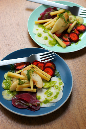 Quick-pickled beet and carrot salad with pears and comté cheese